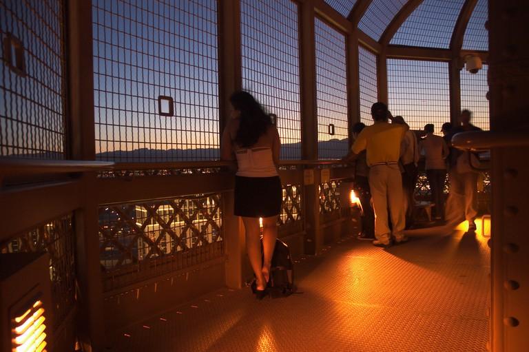 view form Eiffel Tower observation deck Las Vegas Strip