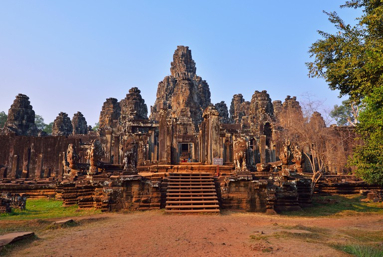 EJPTR9 View of Bayon Temple in late afternoon light. Bayon Temple is located in Siem Reap Cambodia.