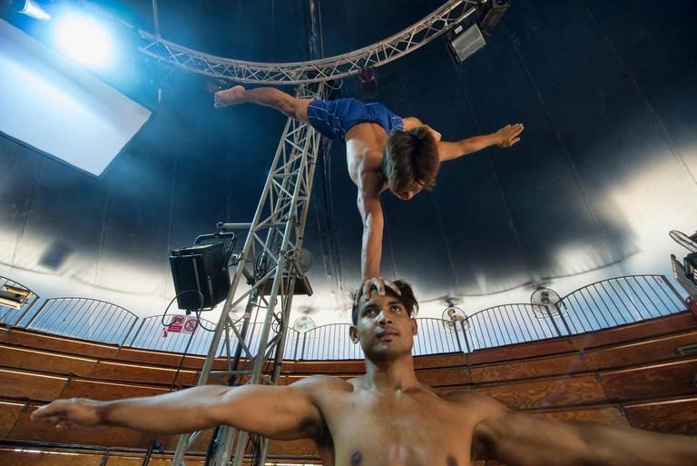 ENWA4C Acrobatic talent at the Phare Cambodian Circus, Siem Reap, Cambodia