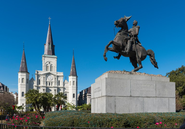 St Louis Cathedral, New Orleans with the statue of Major General Andrew Jackson, Louisiana, USA