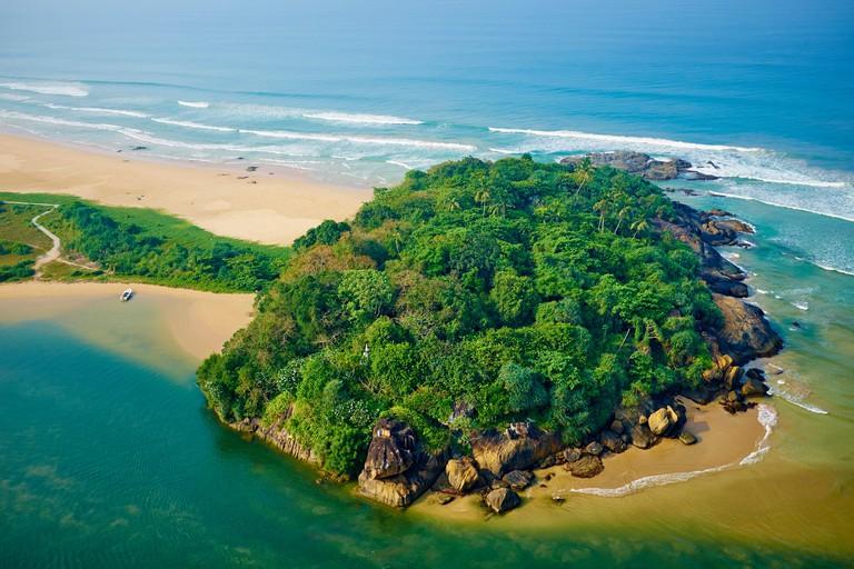 Sri Lanka, West Coast, Bentota, beach and river of Bentota, aerial view