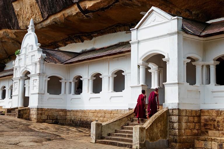 Sri Lanka, Ceylon, North Central Province, Dambulla, Buddhist Cave Temple, UNESCO World Heritage Site, monk