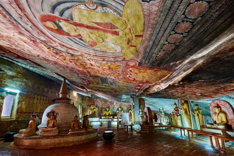Sri Lanka, Ceylon, North Central Province, Dambulla, Buddhist Cave Temple, UNESCO World Heritage Site, Cave 2, buddhist statues