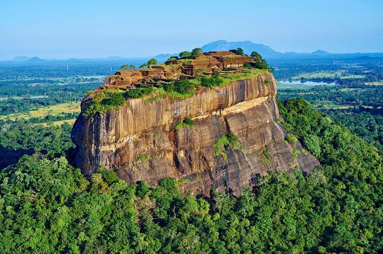 Sri Lanka, Ceylon, North Central Province, Sigiriya Lion Rock fortress, UNESCO world heritage site, aerial view