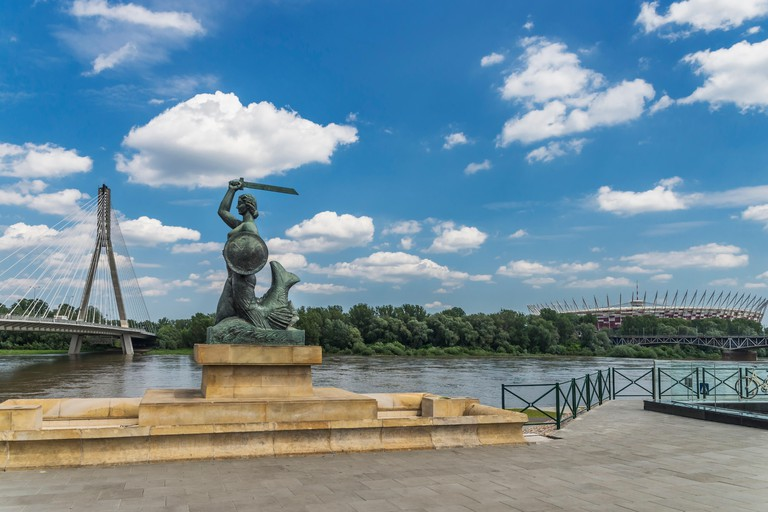 The statue of the Mermaid of Warsaw is located on the left bank of the Vistula River, Warsaw, Masovian, Poland, Europe