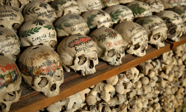 Skulls in ossuary, Karner St. Michael's Chapel, Lake Hallstatt, Salzkammergut, a UNESCO World Heritage Hallstatt-Dachstein