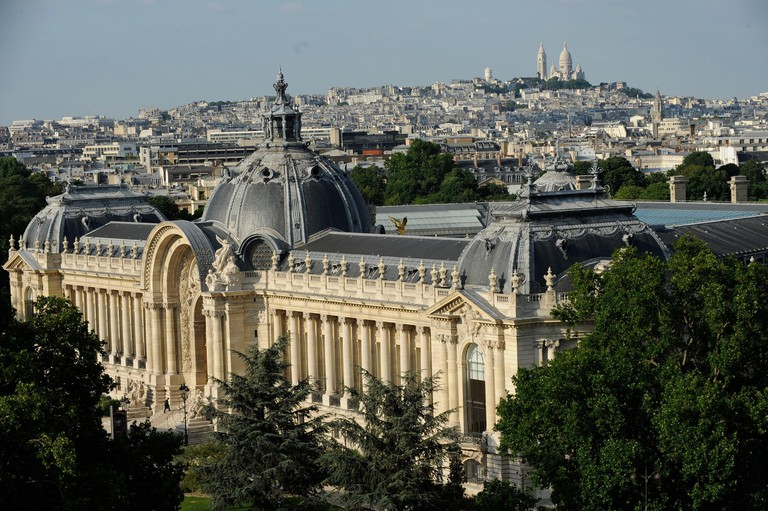 France, Paris, Le Petit Palais is a historical monument in Paris, now used as a museum of fine arts, which was built for the Universal Exhibition (aerial view)