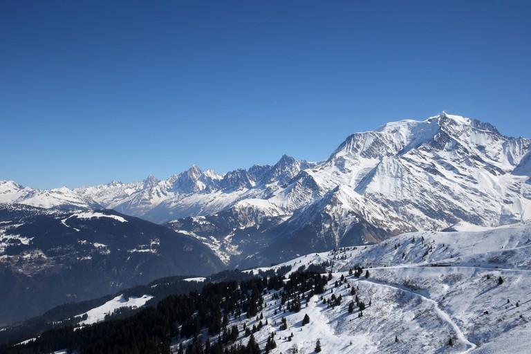 Mont Blanc in Saint-Gervais les Bains, Haute-Savoie, French Alps, France, Europe