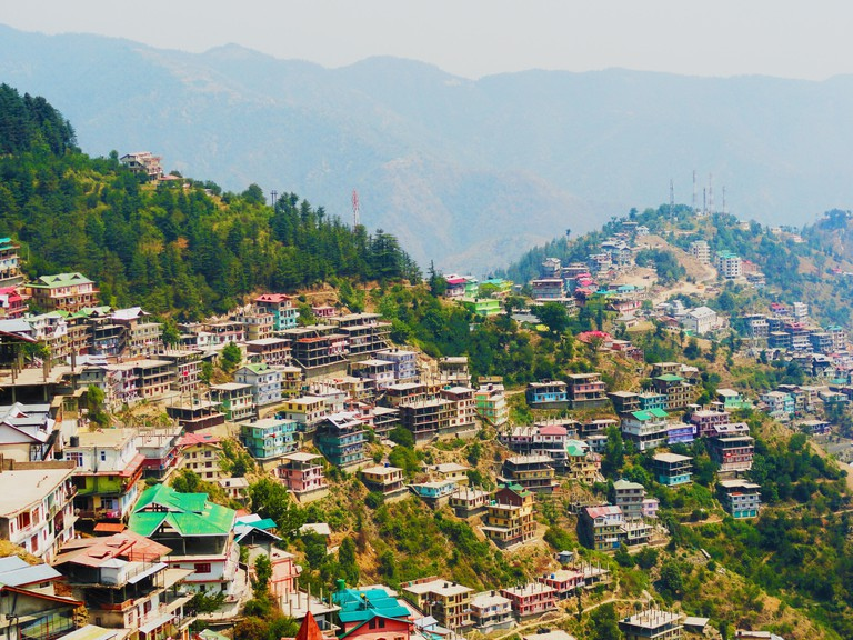 Aerial View of Shimla City From The State of Himalaya, mountains