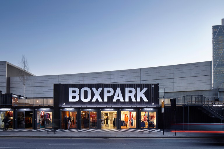 BOXPARK pop-up mall in Shoreditch London 2012, design by We Like Today