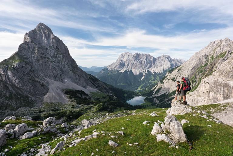 Seebensee with Zugspitze and Sonnenspitze, Wetterstein Mountains, Alps, Austria, Europe