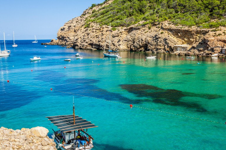 Ibiza Cala Benirras beach in san Joan at Balearic Islands Spain