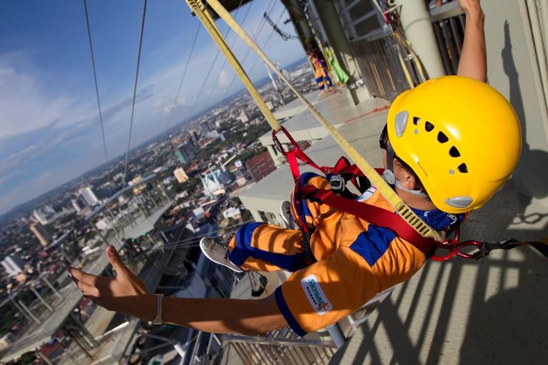 worlds first urban zip lining experience, Crown regency hotel,Cebu city,philippines