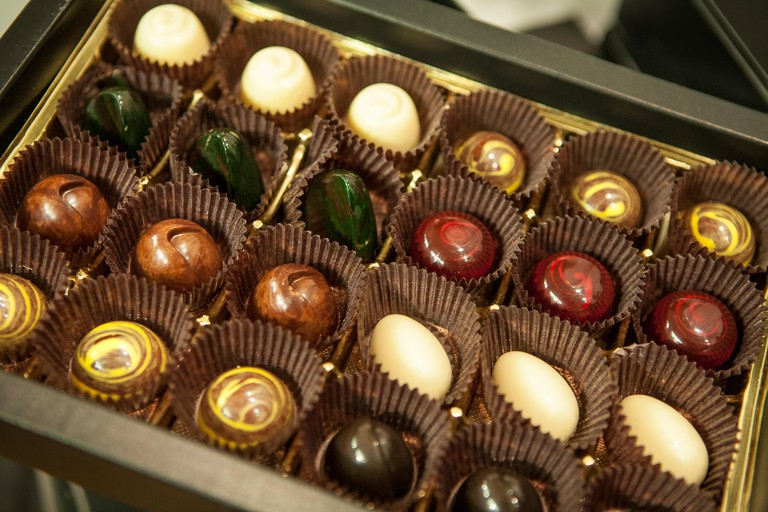 Chocolate assortment by Hakan Martensson of FIKA Chokolad of New York. Martensson won a gold medal in the 2008 Culinary Olympics
