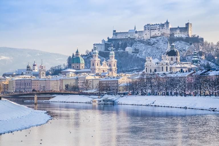 Historic city of Salzburg with Salzach river in winter, Salzburger Land, Austria