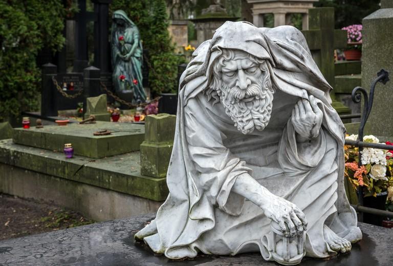 Statue on Old Powazki cemetery in Warsaw, Poland