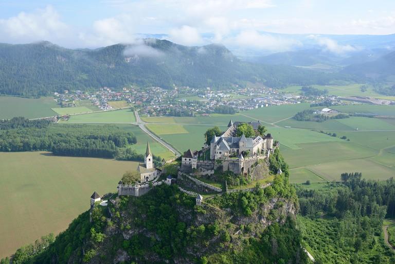HOCHOSTERWITZ CASTLE (aerial view). Carinthia, Austria.