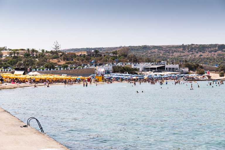 August 24th, 2019, Mellieha, Malta - view of the Ghadira bay, a tourist resort, popular for its sandy beaches and natural environment.