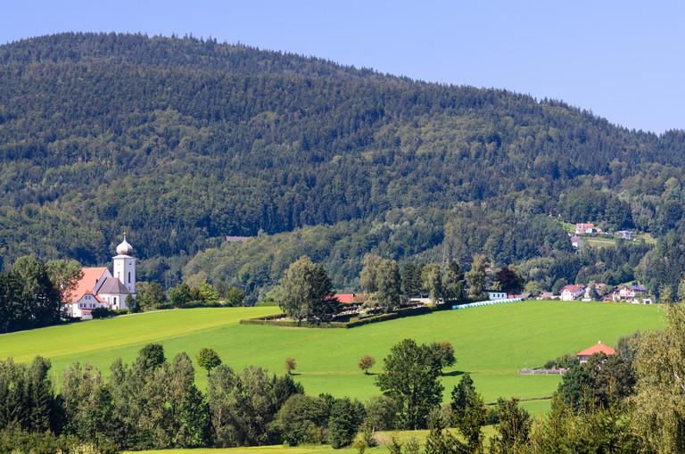 Klaffer am Hochficht: church in Klaffer am Hochficht and Bohemian Forest, Austria, Oberosterreich, Upper Austria, Muhlviertel