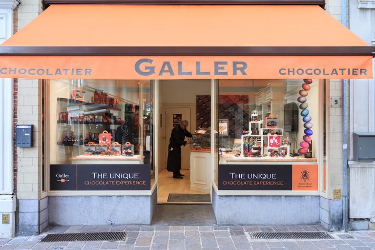 Belgium, West Flanders, Bruges, shop for chocolate 'Chocolatier Galler'