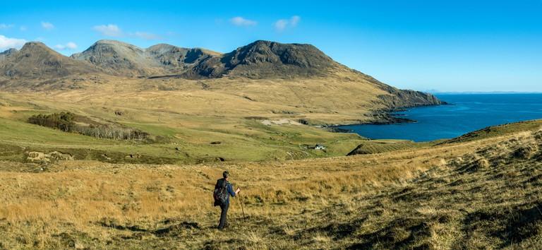 The Rum Cuillin mountains and Harris Bay, over Glen Harris, Isle of Rum, Scotland, UK