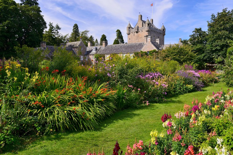 Flower garden at Cawdor Castle near Nairn in Inverness shire, Scotland