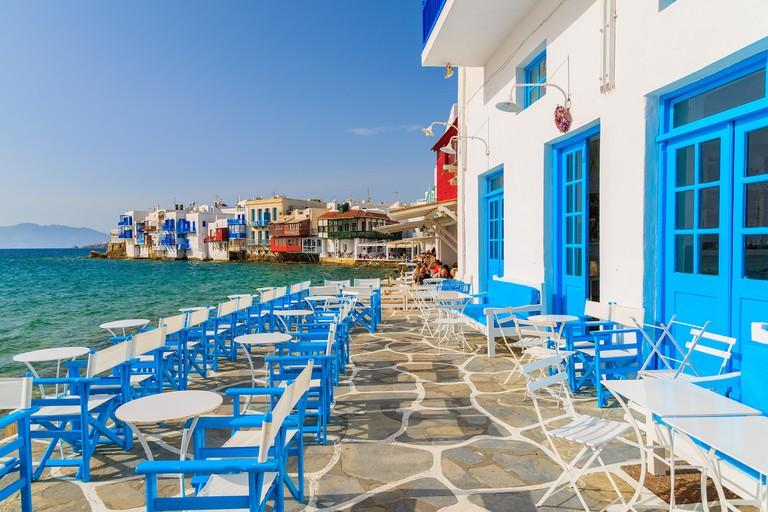 A view of restaurant in Little Venice part of Mykonos town, Mykonos island, Greece