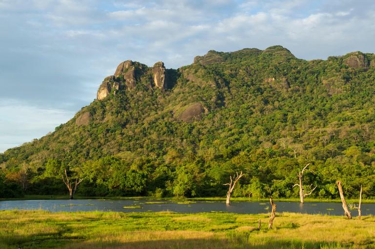 Lake in mountain scenery, Gal Oya National Park, Sri Lanka