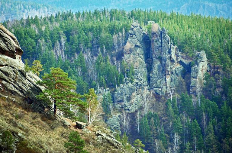 Rock outcrop in Stolby Nature Sanctuary, Krasnoyarsk, Siberia, Russia