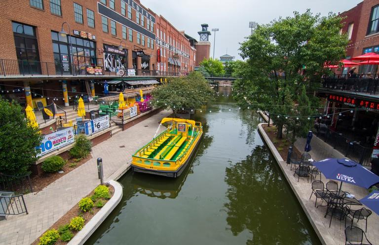Oklahoma City Oklahoma OKC Bricktown Canal with boats and restaurants downtown