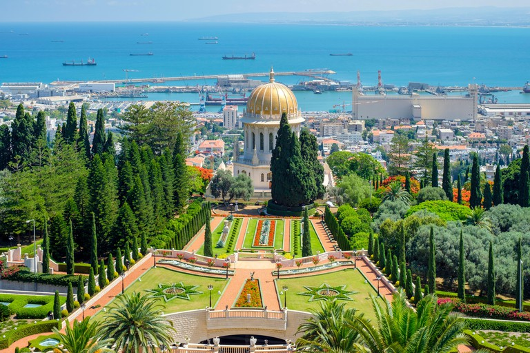Israel, Haifa District, Haifa. The Shrine of the Bab at the Baha'i Gardens.