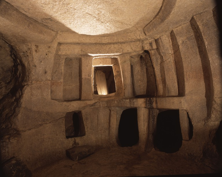 """View of the Hal Saflieni """"Hypogeum"""", a hewn rock structure used as a cemetery ."""