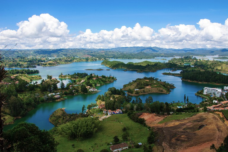 Panoramic view of Guatape Lake from Rock of Guatape in Medellin, Colombia
