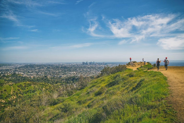 Los Angeles, California/USA - April 8, 2018 Griffith Park hiking trail. The area is famous for its Hollywood sign, Griffith Observatory, and spectacul