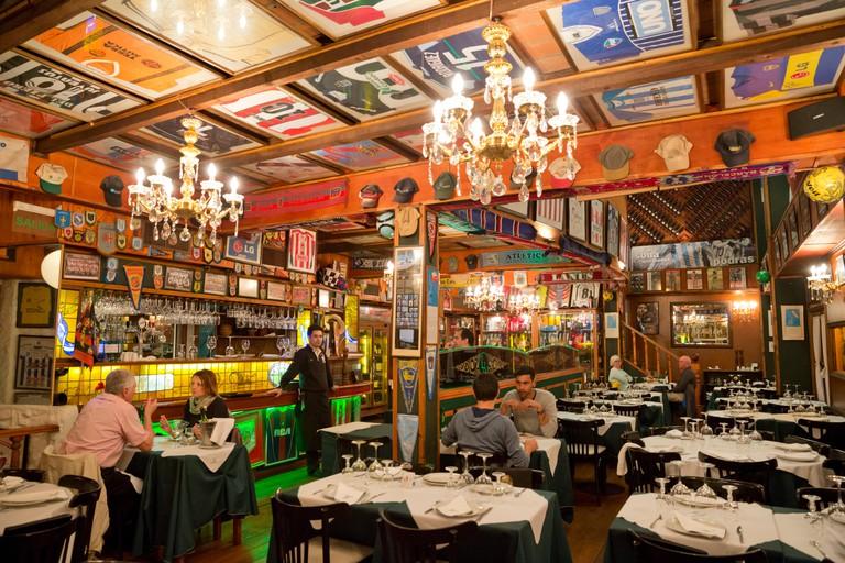 Interior of La Brigada parrilla restaurant, San Telmo, Buenos Aires, Argentina, South America