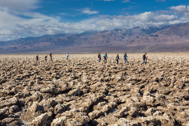 tourists, visitors, visiting, Devils Golf Course, Death Valley National Park, Death Valley, California