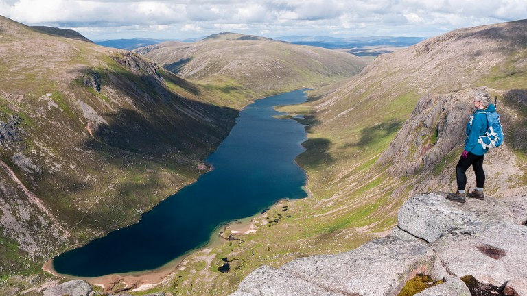 View over Loch Avon from Shelter Stone Crag on Carn Etchachan at the head of Glen Avon in the Cairngorms National Park, Scotland