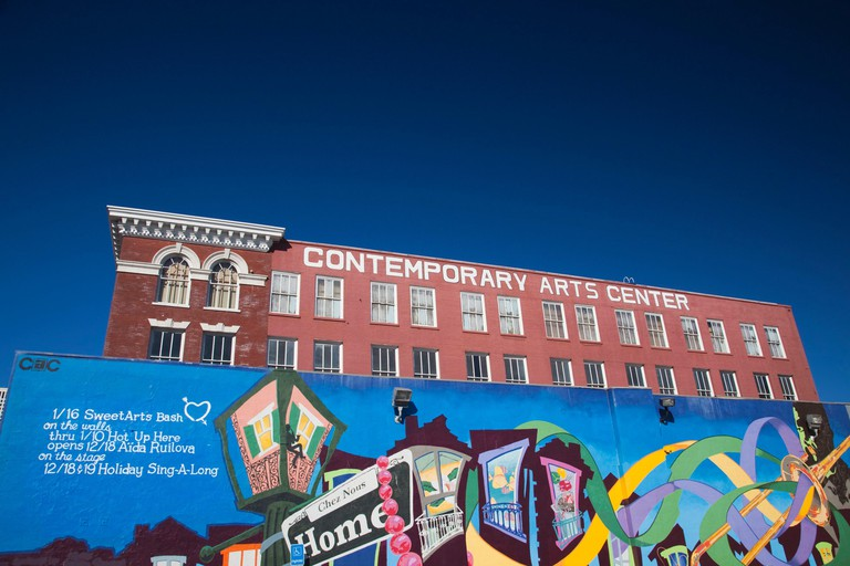 United States, Louisiana, New Orleans, Warehouse District, Contemporary Arts Center and wall mural