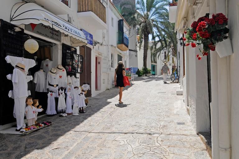 Shops, alleyway, Dalt Vila, historic district of Ibiza Town, Unesco World Heritage site, Eivissa, Ibiza, Pityuses