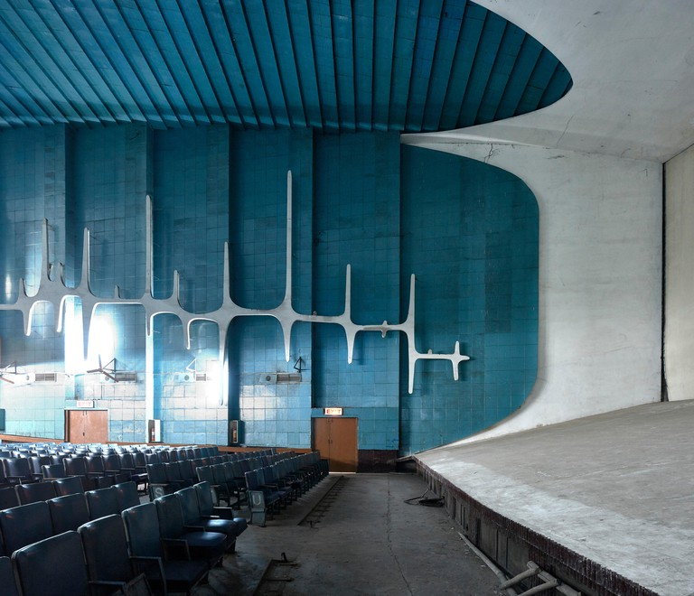Sculptural wall detail. Neelam Cinema Chandigarh, Chandigarh, India. Architect: Le Corbusier, 1954.
