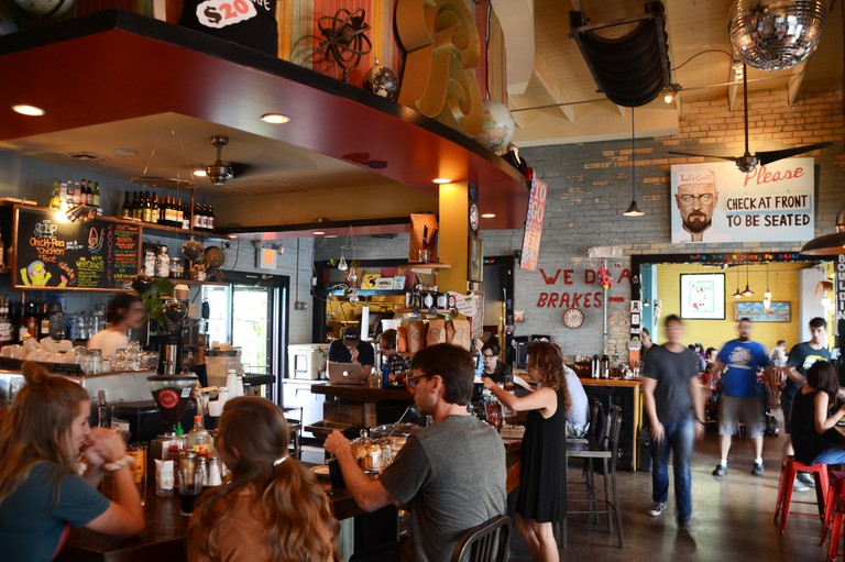 Interior of the Bouldin Creek Cafe in Austin, Texas, hipster bar and cafe serving vegetarian and vegan food