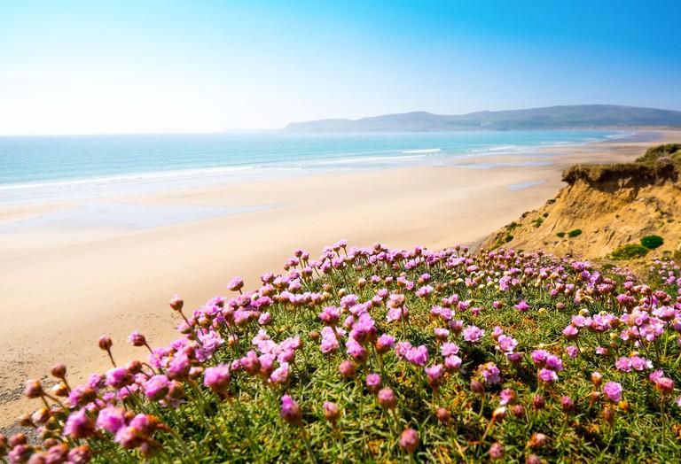 Hell's Mouth ( Porth Neigwl ) a popular surf beach on the tip of the Lleyn (Llyn) Peninsula in Gwynedd, North Wales
