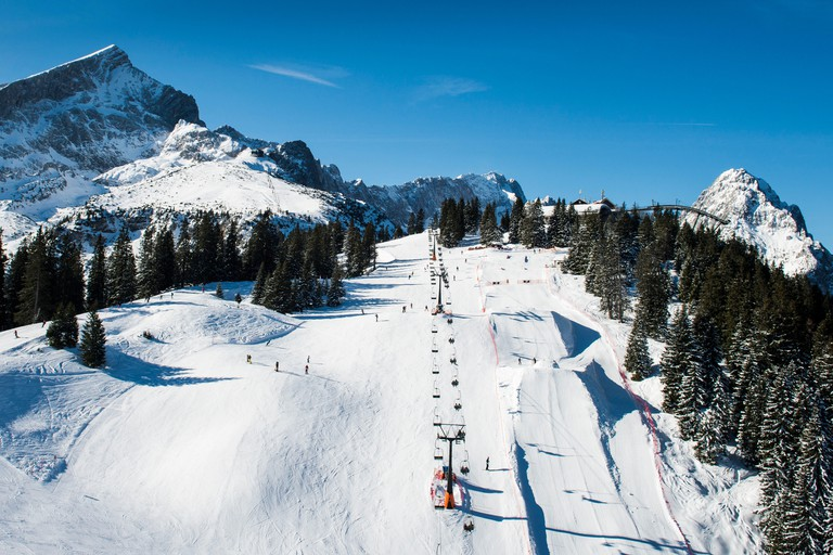 Skiing area Garmisch-Classic in front of Alpspitze and Zugspitze, fun park Hexenkessel, Kreuzeck, Garmisch-Partenkirchen, aerial picture, Bavarians, Germany