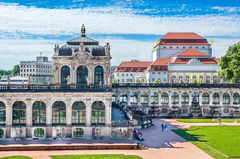 Germany, Saxony, Dresden, view of the Porcelain Pavilion at the Dresdner Zwinger palace