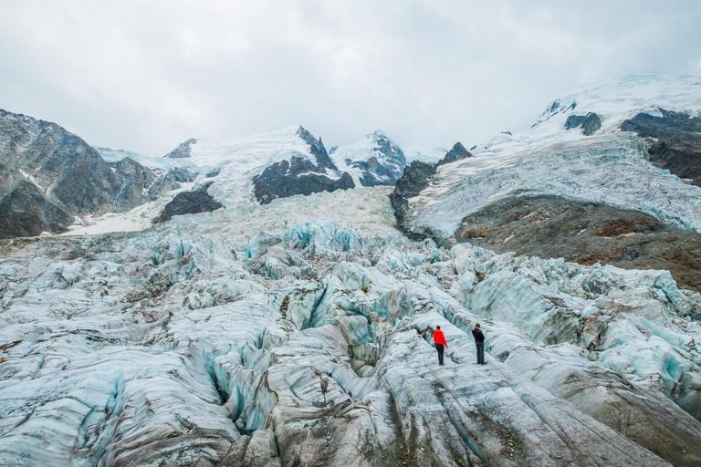 Mont Blanc glacier des Bossons ans de Tacconaz from la Jonction, Chamonix Mont Blanc, France