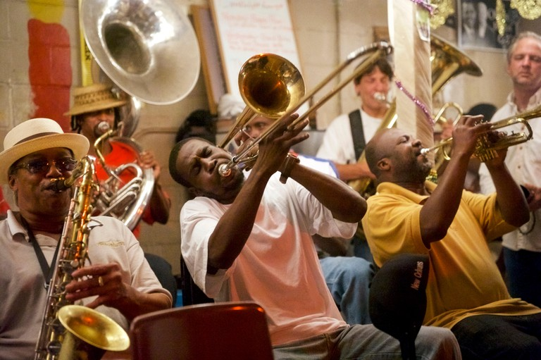The Treme Brass Band plays at the Candlelight Lounge in the Treme' neighborhood of New Orleans, Louisiana