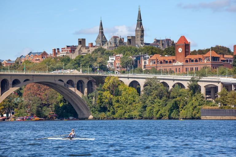 Rowing Potomac River Key Bridge Georgetown University Washington DC
