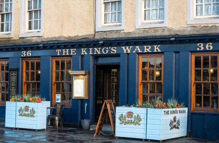 The Kings Wark, a fashionable old pub and eatery built by James I and completed in 1500, The Shore, Leith, Edinburgh, Scotland, UK