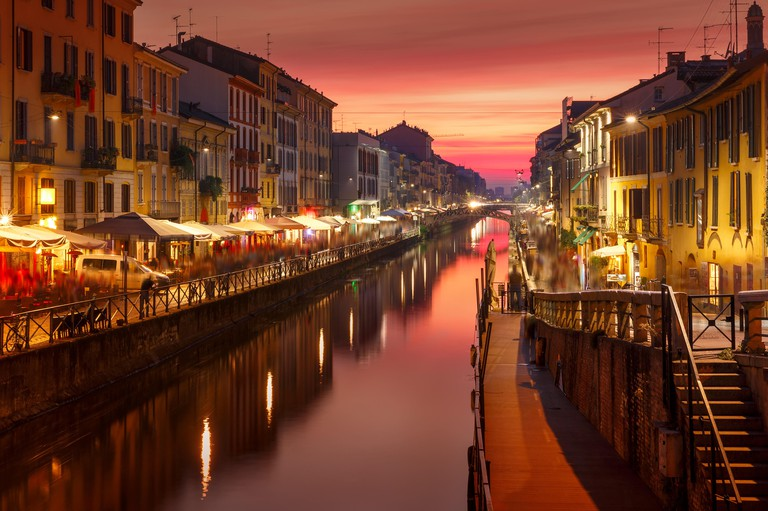 Naviglio Grande canal in Milan, Lombardia, Italy