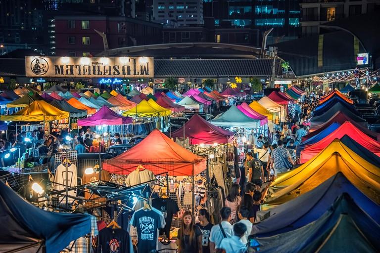 Colorful new Rod Fai market in Ratchadapisek in Bangkok